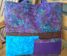 Batik tote, knitting bag, blue, purple, brown, 16x 17x 5 inches, 4 outer pockets,1 inner, shoulder carry, lined, sturdy, by HarneysHandmades on Etsy
