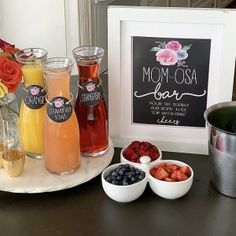 Mom Osa Bara Fun Mimosa Bar For A Ba Shower Or Mothers Day throughout Amazing Mimosa Baby Shower - Party Supplies Ideas Frose Rezept, Gluten Free Peach, Phyllo Cups, Bar Set Up, Mimosa Bar, Champagne Flutes, Teacher Appreciation Gifts, Trader Joes, Party Printables
