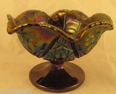 Imperial-Carnival-Glass-Marked-Dish-Pedestal-IG-Beautiful-Color-Purple