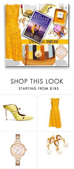 """In La La Land: Yellow Dress!!"" by stylediva20 on Polyvore featuring Malone Souliers, Oscar de la Renta, KAROLINA, Kate Spade, SkinCare, See by Chloé and yellowdress"