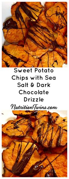 Sweet Potato Chips with Sea Salt & Dark Chocolate Drizzle | Only 167 Calories for Large Serving | Filling & Squashes cravings | Great snack | For RECIPES, Fitness & Nutrition Tips please SIGN UP for our FREE NEWSLETTER www.NutritionTwins.com  and please follow us on Instagram https://www.instagram.com/nutritiontwins/