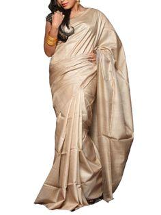 Details: Hand woven tusser silk handloom saree