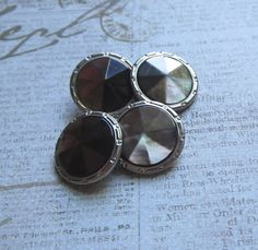 Vintage Art Deco Faceted Abalone Double Button Cufflinks with