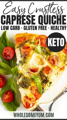 Easy Keto Crustless Quiche Caprese Recipe - Learn how to make the best crustless quiche, with tips & tricks! This easy crustless quiche recipe (Caprese style) is packed with tomatoes, basil and gooey cheese. It will become one of your go-to quiche recipes for brunch. #wholesomeyum #keto #quiche #eggs #caprese #tomatoes #basil #mozzarella Veggie Recipes, Real Food Recipes, Keto Recipes, Vegetarian Recipes, Cooking Recipes, Healthy Recipes, Egg Recipes For Lunch, Breakfast Recipes, Easy Brunch Recipes