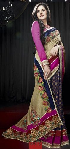Vivacious Zarin Khan Sarees will surely be the style symbol for any ocassion will make you centre of attraction. Look gorgeous in this Fawn and Dark Blue Art Pashmina Silk and Jacquard Saree with Blouse. This saree is having unstitched matching blouse material which can be customised as per the requirement limited to availability to material. http://sareemandi.com/proddetail.asp?prod=6913=Fawn-and-Dark-Blue-Art-Pashmina-Silk-and-Jacquard-Saree-with-Blouse