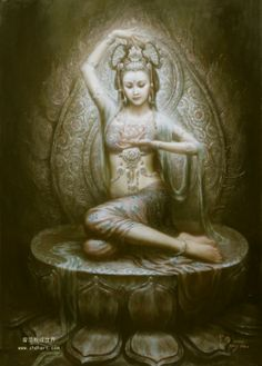 Kuan Yin by Zeng Hao. Kuan Yin, beloved goddess of over a billion people the world over. Her name too signifies her compassionate nature, literally meaning 'One who hears the cries of the world. Buddha Kunst, Buddha Art, Buddha Lotus, Tres Belle Photo, Dunhuang, Art For Sale Online, Guanyin, Oil Painting Reproductions, Gods And Goddesses