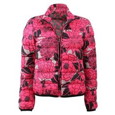 Etro Dalia Floral Puffer Jacket ❤ liked on Polyvore featuring outerwear, jackets, flower print jacket, pink floral jacket, puffy jacket, pink jacket and floral jacket