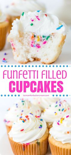 A fluffy white cupcake with a gooey funfetti filled center. These funfetti filled cupcakes are a fun and different take on the classic funfetti cake. #funfetticake #funfetticupcakes #filledcupcakes