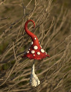 Red white fairy garden fantasy mushroom ,polymer clay toadstool Home decor,Fairy…