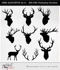 Hirsch Kopf Silhouetten Rentier Geweih Clipart Von BlackCatsMedia Silhouette Deer Head Reindeer