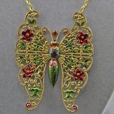 The Hand Painted Butterfly Art Jewelry Necklace by oscarcrow on Etsy