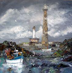 Christian Sanséau expose à l'Atelier De Roeck Landscape Paintings, Sea Paintings, Acrylic Painting Tips, Beach Art, Statue Of Liberty, Coastal, Christian, Brittany, Marines