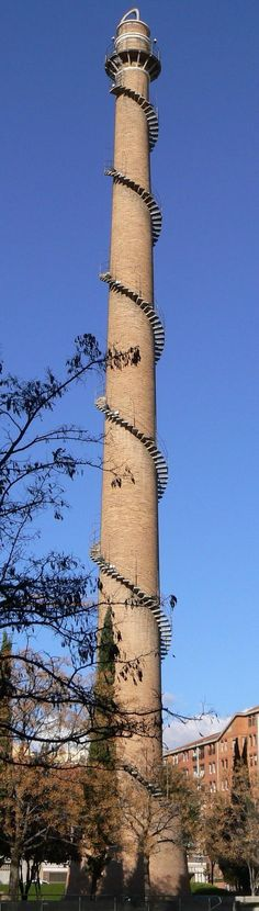The chimney of the old Bóbila Almirall in Terrassa, Spain. The world's tallest chimney with a spiral staircase: