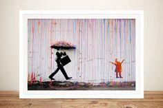 #canvasprintsaustralia  #BanksyRainGirl #RainGirlPrint #RainGirlArt #BanksyUmbrella #BanksyUmbrellaGirl #BanksyUmbrellaMan #BanksyUmbrellaRain #UmbrellaRainArt #UmbrellaRainprint #UmbrellaRainmanPrint #BlueHorizonPrints Banksy Canvas Prints, Banksy Wall Art, Graffiti Wall Art, Street Art Graffiti, Framed Wall Art, Wall Art Prints, Canvas Prints Australia, Rain Painting, Australian Art