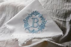 Something Blue 1Initial Damask Lace Handkerchief by elgies on Etsy, $18.00