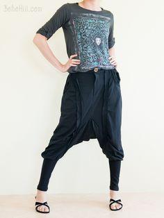 Neoclassic Harem Drop Crotch Slim Leg Double Stripe Tomboy Unisex Pants (Black)