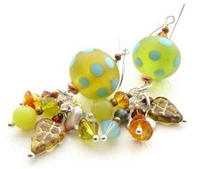 Glass Bead Earrings Mojito Dots by nemeton on Etsy, £20.00