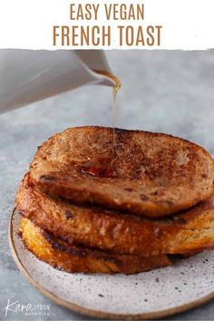 This easy vegan french toast calls for only 5 ingredients! And it's still crispy, sweet and golden-brown. Perfect for Sunday brunch, or my favorite - breakfast for dinner! #vegan #breakfast #frenchtoast Plant Based Breakfast, Breakfast For Dinner, Vegan Breakfast, Breakfast Ideas, Clean Recipes, Cooking Recipes, Vegan French Toast, Vegetarian Recipes, Vegan Meals