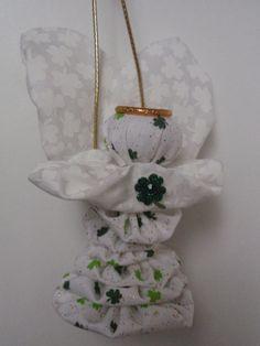 Irish Shamrock Good Luck Yo Yo Angel Ornament by SursyShop on Etsy, $7.00