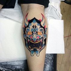 Man With Old School Hannya Mask Tattoo On Leg Calf