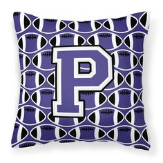 Letter P Football Purple and White Fabric Decorative Pillow CJ1068-PPW1414