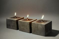 OIL CANDLE LAMP - Cowboy Zen Style in Concrete and Iron. $57.50, via Etsy.