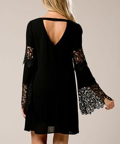 Love this Black Lace-Accent Bell-Sleeve Dress on #zulily! #zulilyfinds