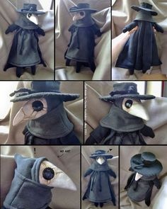 "I wanted a cute plague doctor. I LOVE how this guy turned out~! He kind of reminds me of one of those ""spy VS spy"" guys. He is a Doctor Spy. Side note: Sewing bleeds my fingers. Plauge Doctor, Eleventh Doctor, Plague Doctor Mask, Plague Dr, Plague Mask, Plushie Patterns, Softie Pattern, Diy Mode, Creepy Cute"