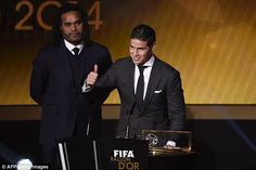 Rodriguez gives a thumbs up after scooping the FIFA Puskas Award at the Ballon d'Or on Mon...
