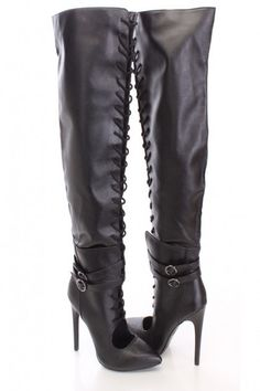 Black Thigh High Lace Up Boots