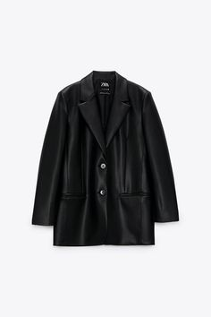 Oversized Blazer With Lapel Collar And Long Sleeves. Front Welt Pockets. Back Vent At Hem. Front Button Closure. Blazer En Cuir, Leather Blazer, Long Jackets, Jackets For Women, Blazers, Oversized Cardigan, Zara Women, Outerwear Women, Shopping