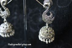 Silver jhumka with Onyx and Marcasite