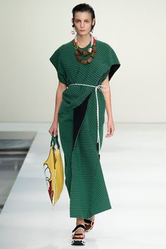 GARMENT: Marni spring 2015 - Forest green patterned dress that slits from the side