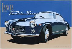 Brian James Automobile Art  Lancia Flaminia Sport