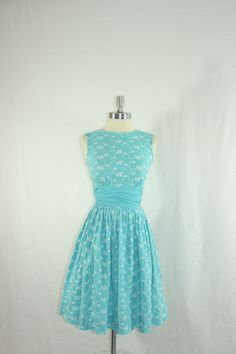 1950s Summer Dress - Blue Cotton with White Embroidery of Grapes and Leaves Party Frock.  via Etsy.