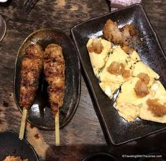 skewers and omelet -Local Evening Tour, Osaka, Japan Osaka Japan, Omelet, Skewers, A Food, Tours, Omelette, Frittata