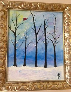 This 16x20 acrylic painting can be framed or Unframed. This listing is for framed. For unframed click here ($40 less). https://www.etsy.com/listing/469434838/winter-twilight-scene-16x20-painting?ref=shop_home_active_2  A peaceful winter scene of fresh snow at twilight over a grove of trees.  All my artwork is signed and dated and protected with a clear coat varnish. Shipping is USPS Priority mail.  I am always happy to customize any paintings or answer any questions. Just convo me…