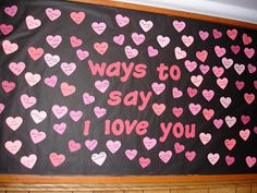 """New Spin on Valentine's Day: Look up """"I love you"""" in different languages and put them on heart cut outs.I like the idea of also putting facts/tidbits about the different cultures on the back of the heart February Bulletin Boards, Valentines Day Bulletin Board, College Bulletin Boards, Resident Assistant Programs, Diversity Bulletin Board, Ra Bulletins, Res Life, Just For You, Crafty"""