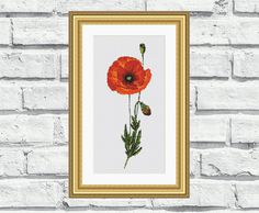 """Modern, elegant, vibrant and cheerful still life/flower pattern of """"Single Poppy"""". These patterns look especially attractive when viewed from a distance and so easy to stitch! Perfect for any room in your home including living rooms, kids rooms and bedrooms. 6,99$"""