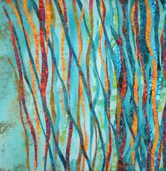 Carol Larson, Textile Artist integrates vintage linens with complex cloth onto which she applies multiple layers of dye, paint, soy wax and screen-printing.