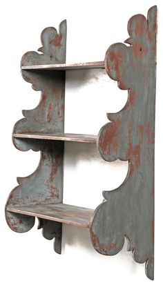 """Hanging Shelves in Blue Paint . voluptuously scrolled sides, square nails—and in early blue over the original red! x x Old ¾"""" crack to one of the lower side extensions repaired. Colonial Furniture, Primitive Furniture, Primitive Antiques, Country Furniture, Antique Furniture, Painted Furniture, Diy Furniture, Wood Projects, Woodworking Projects"""