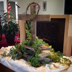 Resurrection Sunday Centerpiece~Altar Arrangement~Easter Sunday~Communion Table~Old Rugged Cross~Rock Altar~Rustic Cross