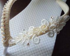 Ivory Flip Flops. leaves pearls and Swarovski crystals bridal