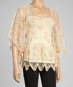 Another great find on #zulily! Pretty Angel Brown Embroidered Silk-Blend Cape-Sleeve Top by Pretty Angel #zulilyfinds