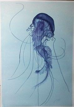 Original Watercolour Painting  Blue Jellyfish 4  by PrettyFlamingo