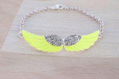 Yellow Wing Bracelet  Rhinestone Bracelets  Wing by SkadiJewelry