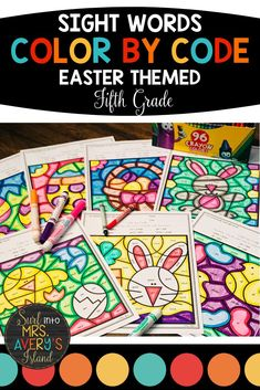 These Easter themed no-prep, color by code, sight word printables are perfect for your fifth grade students to increase reading fluency.  They are differentiated and programmed with words from the Fry sight word lists.  Perfect for your spring morning work, RTI, inside recess, ELL/ESL lessons, sub tub activities, or simply for daily brain breaks!  These worksheets are so easy to incorporate some Easter fun into your literacy lesson plans. #frysightwords #fifthgrade #colorbycode #easteractivities