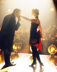 Christian Bale and Scarlett Johansson in Christopher Nolan's The Prestige (2006)