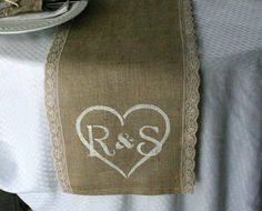 Burlap with lace monogrammed tables runners, country rustic, shabby chic, woodland cottage, & French country weddings by palamidaki Lace Runner, Burlap Table Runners, Rustikalen Shabby Chic, Shabby Chic Homes, Burlap Silverware Holder, Woodlands Cottage, Chic Wedding, Wedding Table, Wedding Bows