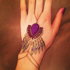 Bronze and purple feather slave bracelet by HouseOfBlaise on Etsy, $36.00